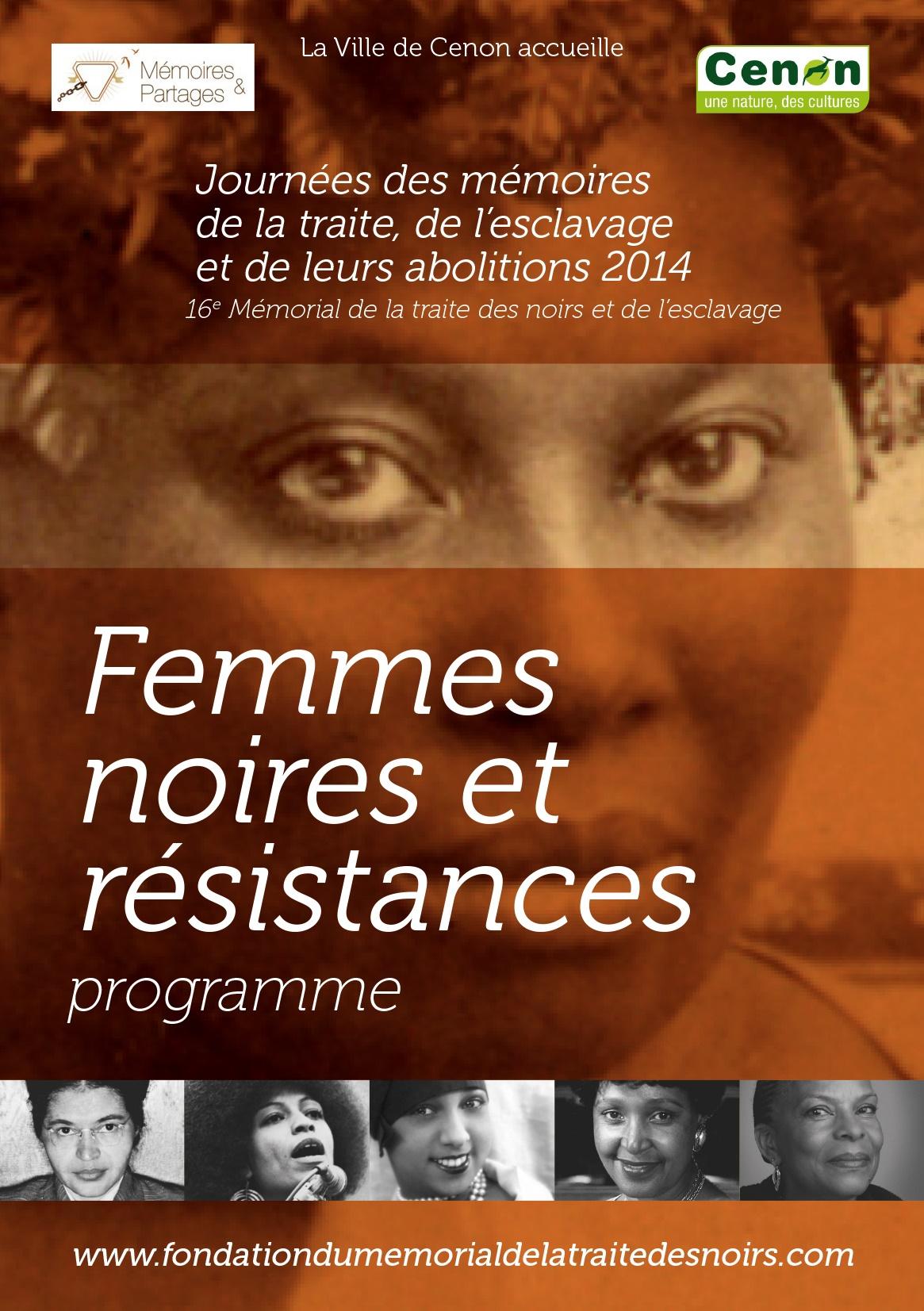 FEMMES NOIRES & RÉSISTANCES- Programme des Journées du 10 mai – Bordeaux et Cenon (7 au 11 mai 2014)